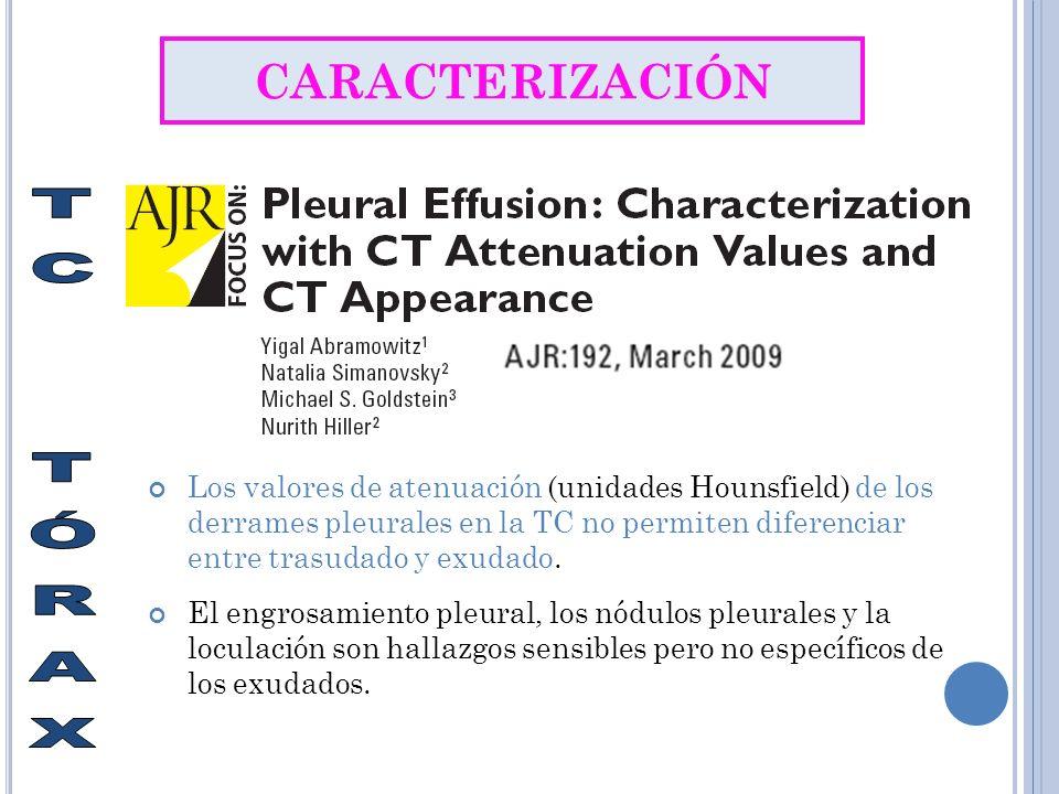 CARACTERIZACIÓN Los valores de atenuación (unidades Hounsfield) de los derrames pleurales en la TC no permiten diferenciar entre trasudado y exudado.