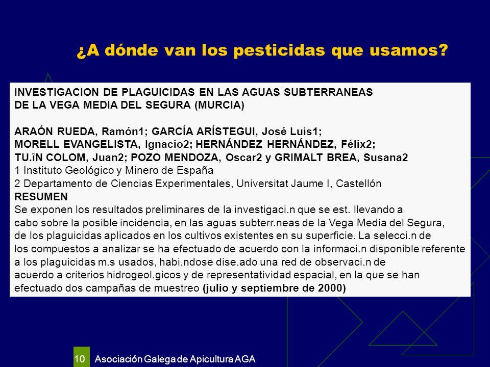 Asociación Galega de Apicultura AGA 10 ¿A dónde van los pesticidas que usamos.