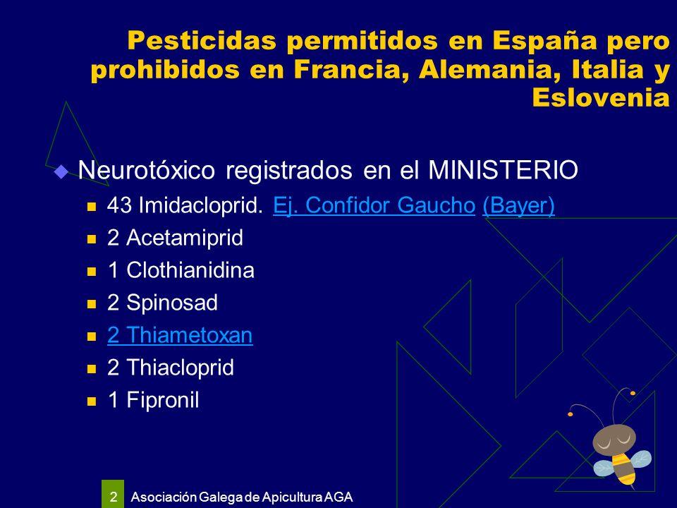 Asociación Galega de Apicultura AGA 2 Pesticidas permitidos en España pero prohibidos en Francia, Alemania, Italia y Eslovenia Neurotóxico registrados en el MINISTERIO 43 Imidacloprid.