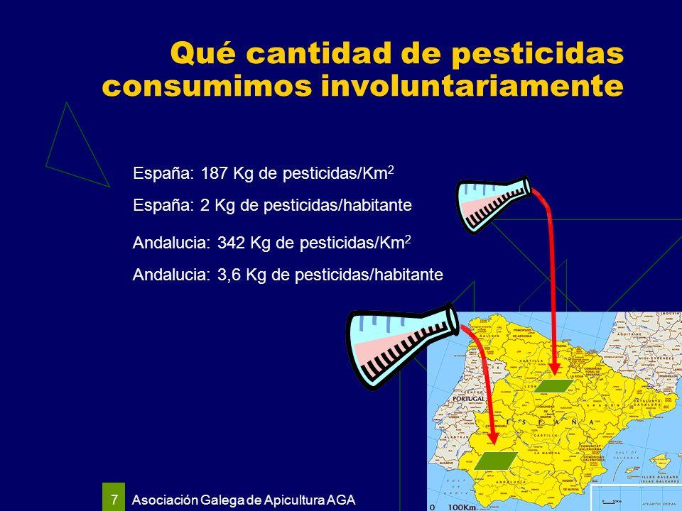 Asociación Galega de Apicultura AGA 7 España: 187 Kg de pesticidas/Km 2 Andalucia: 342 Kg de pesticidas/Km 2 España: 2 Kg de pesticidas/habitante Andalucia: 3,6 Kg de pesticidas/habitante Qué cantidad de pesticidas consumimos involuntariamente