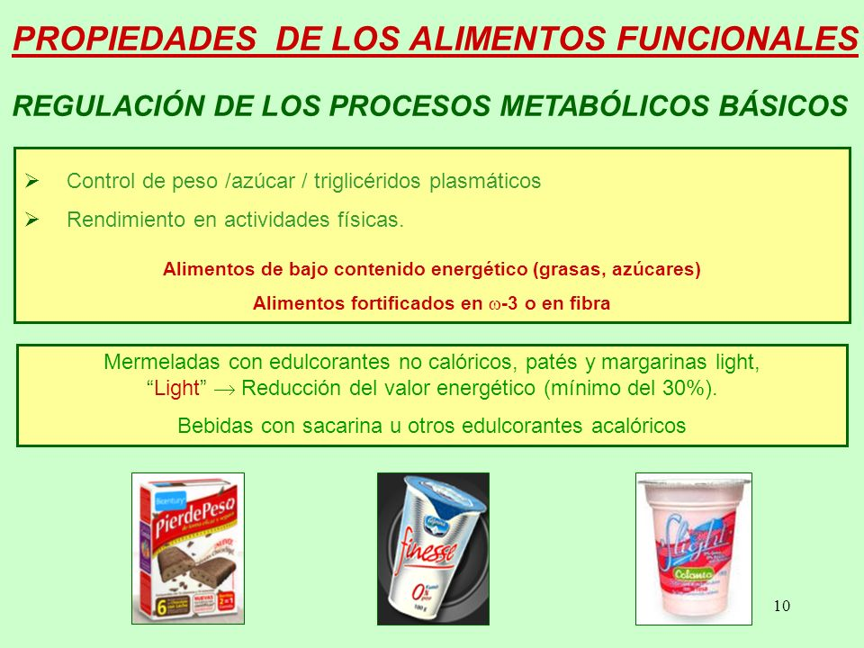 10 PROPIEDADES DE LOS ALIMENTOS FUNCIONALES Control de peso /azúcar / triglicéridos plasmáticos Rendimiento en actividades físicas.