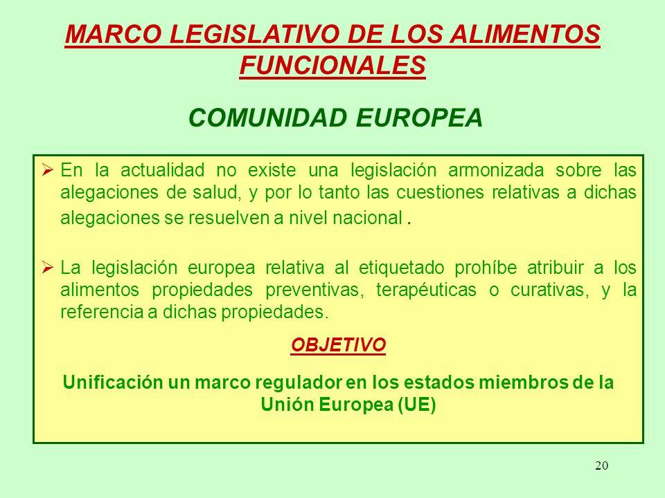 20 COMUNIDAD EUROPEA MARCO LEGISLATIVO DE LOS ALIMENTOS FUNCIONALES En la actualidad no existe una legislación armonizada sobre las alegaciones de salud, y por lo tanto las cuestiones relativas a dichas alegaciones se resuelven a nivel nacional.