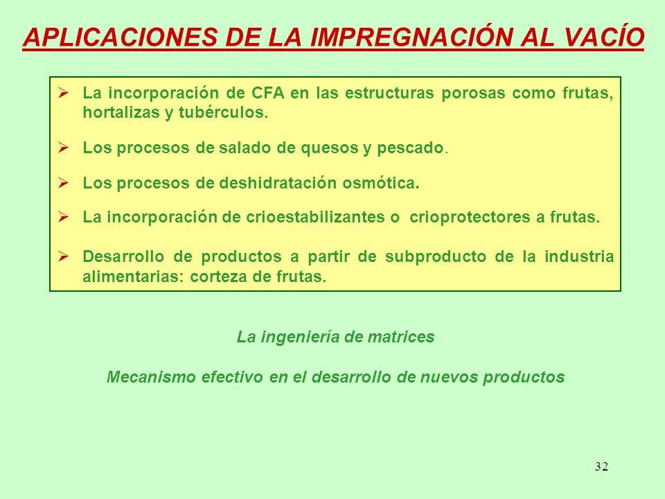 32 APLICACIONES DE LA IMPREGNACIÓN AL VACÍO La incorporación de CFA en las estructuras porosas como frutas, hortalizas y tubérculos.