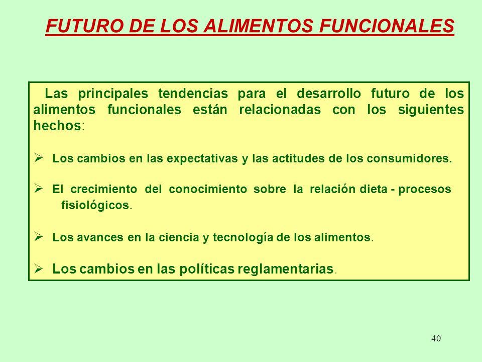 40 FUTURO DE LOS ALIMENTOS FUNCIONALES Las principales tendencias para el desarrollo futuro de los alimentos funcionales están relacionadas con los siguientes hechos: Los cambios en las expectativas y las actitudes de los consumidores.