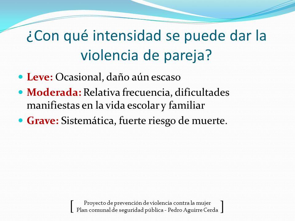 Proyecto de prevención de violencia contra la mujer Plan comunal de seguridad pública - Pedro Aguirre Cerda ] [ ¿Con qué intensidad se puede dar la vi