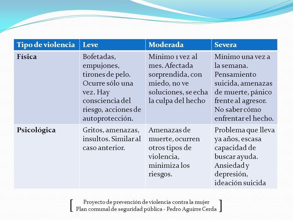 Proyecto de prevención de violencia contra la mujer Plan comunal de seguridad pública - Pedro Aguirre Cerda ] [ Tipo de violenciaLeveModeradaSevera Fí