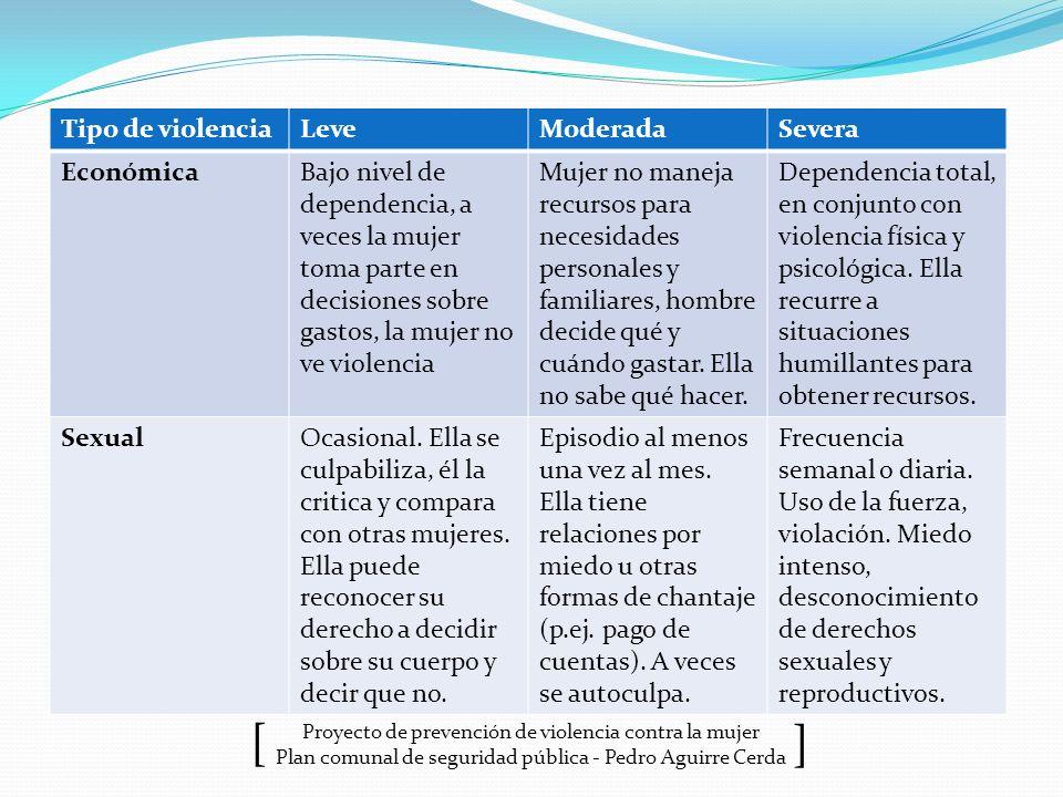 Proyecto de prevención de violencia contra la mujer Plan comunal de seguridad pública - Pedro Aguirre Cerda ] [ Tipo de violenciaLeveModeradaSevera Ec