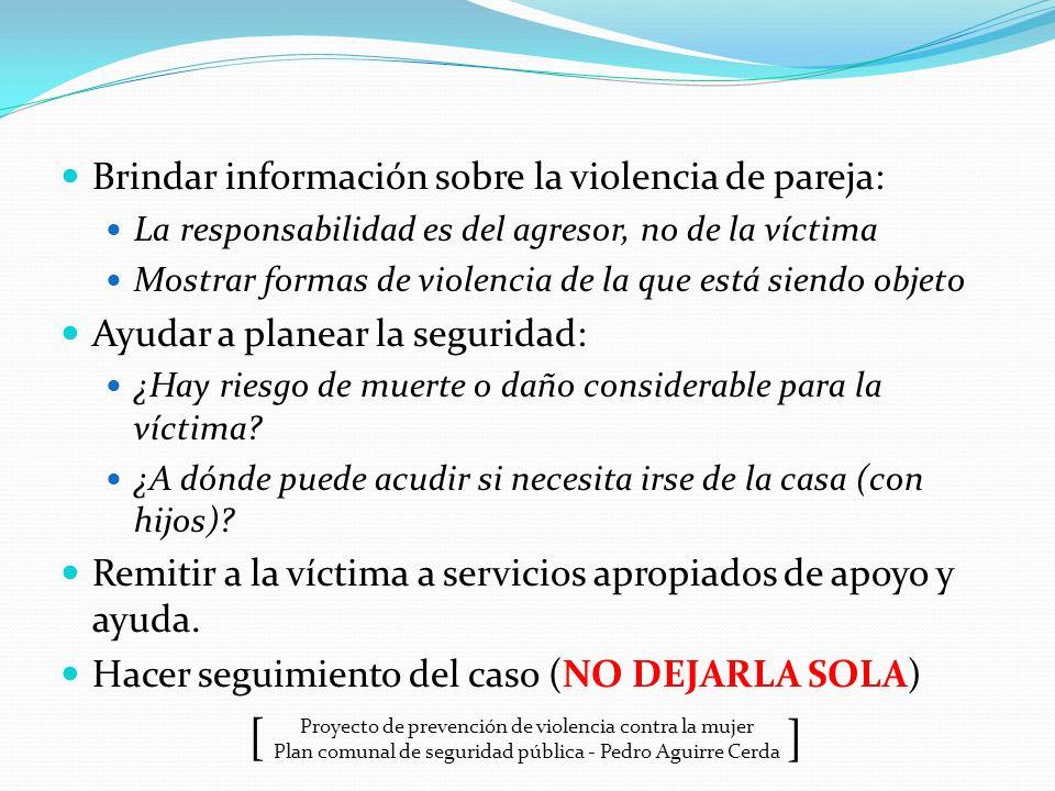 Proyecto de prevención de violencia contra la mujer Plan comunal de seguridad pública - Pedro Aguirre Cerda ] [ Brindar información sobre la violencia