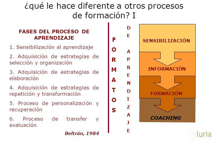 ¿qué le hace diferente a otros procesos de formación? I SENSIBILIZACIÓN INFORMACIÓN FORMACIÓN COACHING FORMATOSFORMATOS DEAPRENDIZAJEDEAPRENDIZAJE FAS