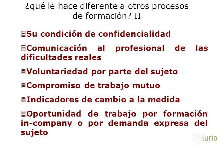 3Su condición de confidencialidad 3Comunicación al profesional de las dificultades reales 3Voluntariedad por parte del sujeto 3Compromiso de trabajo m
