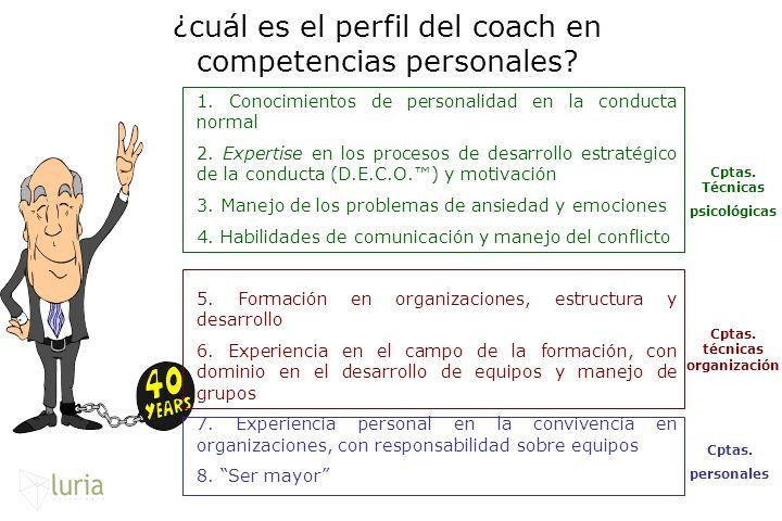 ¿cuál es el perfil del coach en competencias personales? 1. Conocimientos de personalidad en la conducta normal 2. Expertise en los procesos de desarr