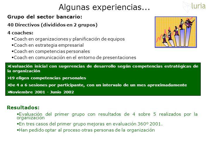 Algunas experiencias... Grupo del sector bancario: 40 Directivos (divididos en 2 grupos) 4 coaches: Coach en organizaciones y planificación de equipos