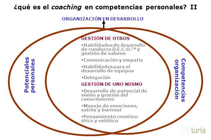 Potenciales personales Competencias organización GESTIÓN DE OTROS Habilidades de desarrollo de conducta D.E.C.O. TM y gestión de valores Comunicación