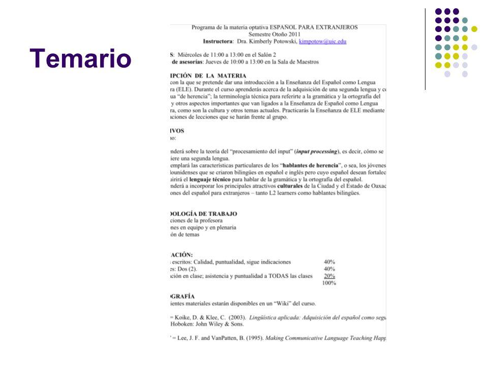 Página del curso http://potowski.org/groups/ele