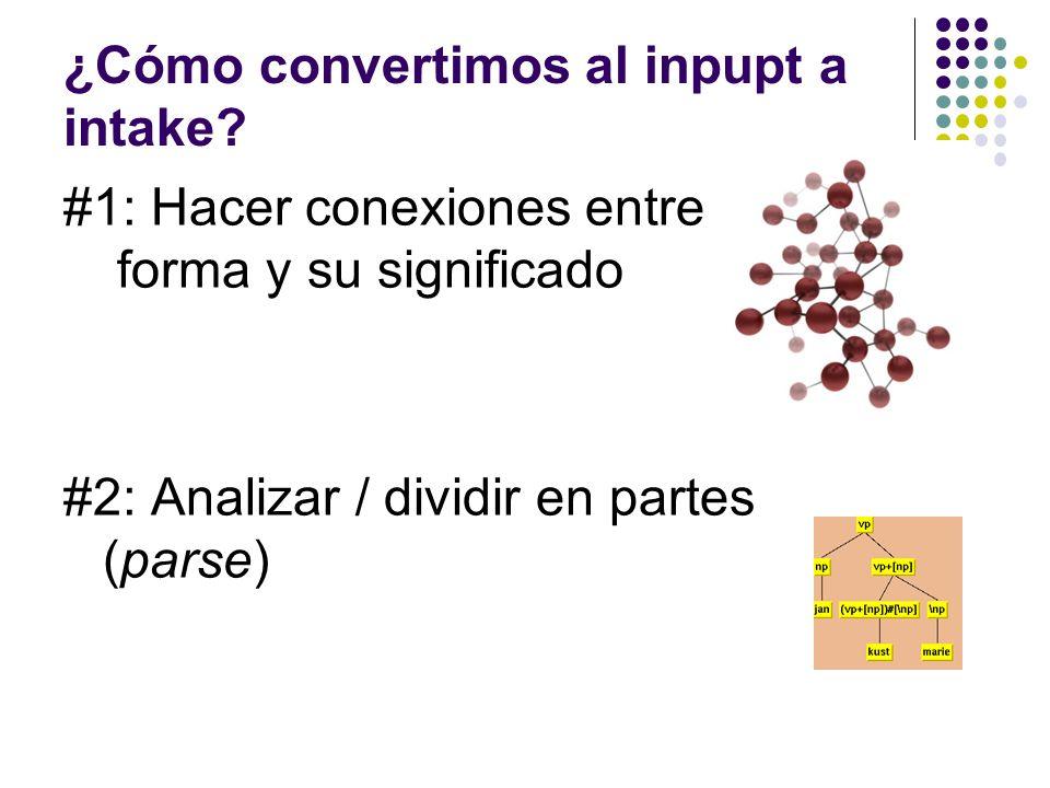 ¿Cómo convertimos al inpupt a intake? #1: Hacer conexiones entre la forma y su significado #2: Analizar / dividir en partes (parse)