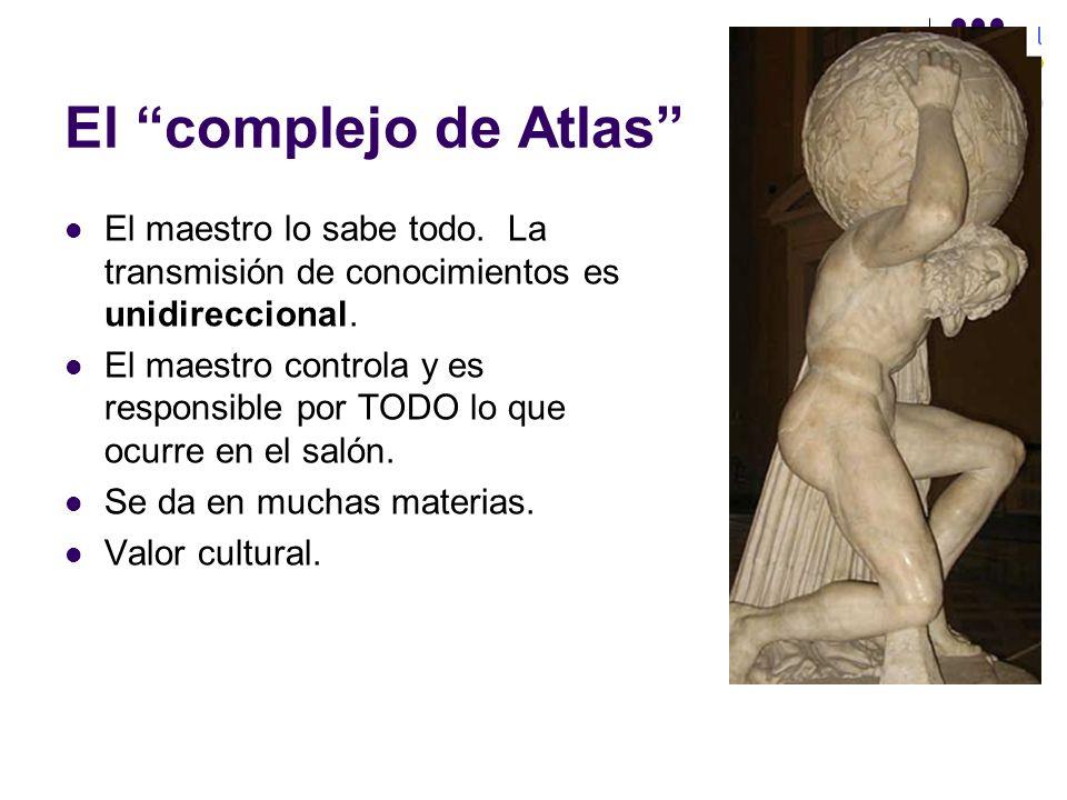 El complejo de Atlas El maestro lo sabe todo. La transmisión de conocimientos es unidireccional. El maestro controla y es responsible por TODO lo que