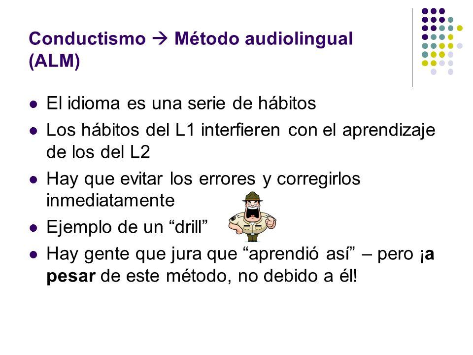 Conductismo Método audiolingual (ALM) El idioma es una serie de hábitos Los hábitos del L1 interfieren con el aprendizaje de los del L2 Hay que evitar