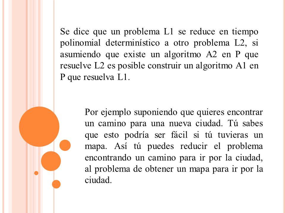 Se dice que un problema L1 se reduce en tiempo polinomial determinístico a otro problema L2, si asumiendo que existe un algoritmo A2 en P que resuelve L2 es posible construir un algoritmo A1 en P que resuelva L1.