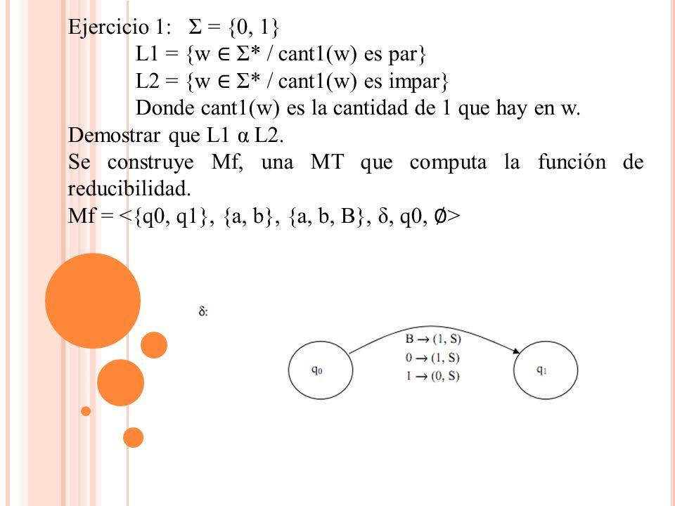Ejercicio 1: Σ = {0, 1} L1 = {w Σ* / cant1(w) es par} L2 = {w Σ* / cant1(w) es impar} Donde cant1(w) es la cantidad de 1 que hay en w.