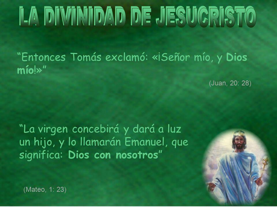Entonces Tomás exclamó: «¡Señor mío, y Dios mío!» La virgen concebirá y dará a luz un hijo, y lo llamarán Emanuel, que significa: Dios con nosotros (Mateo, 1: 23) (Juan, 20: 28)