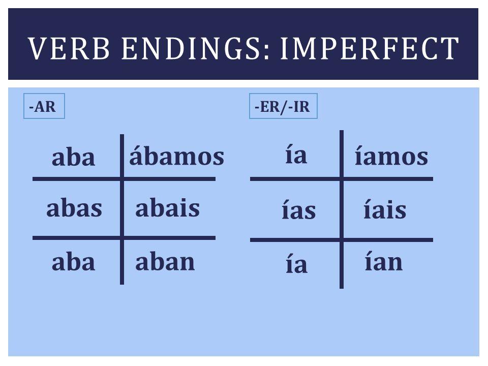 VERB ENDINGS: IMPERFECT -AR-ER/-IR aba abas aba ábamos abais aban ía ías ía íamos íais ían
