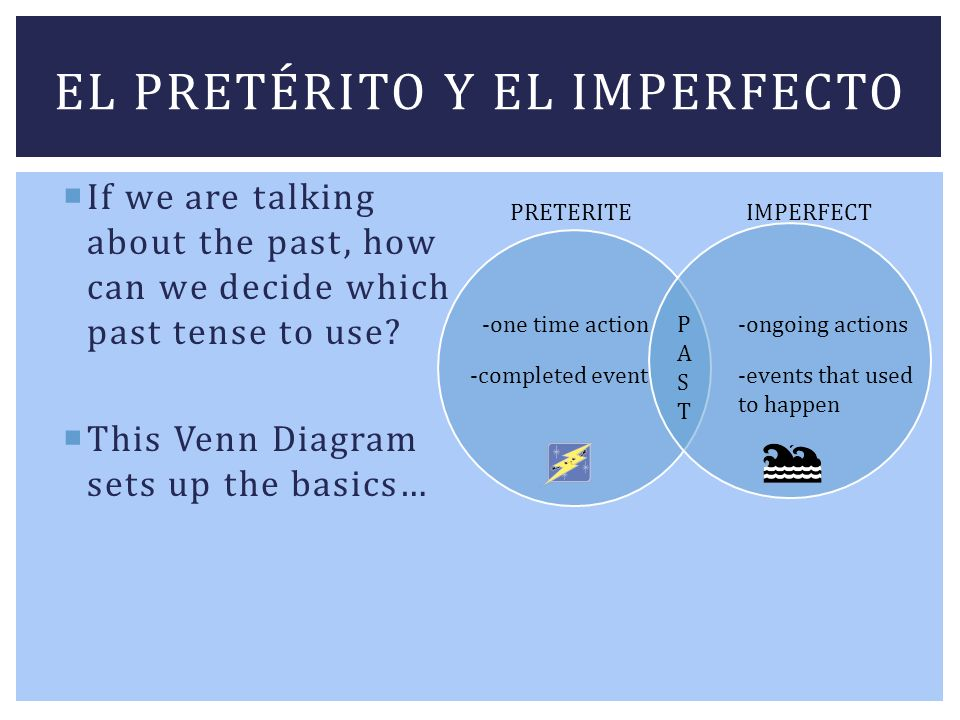 EL PRETÉRITO Y EL IMPERFECTO If we are talking about the past, how can we decide which past tense to use? This Venn Diagram sets up the basics… PASTPA