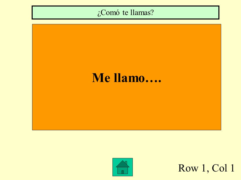 Row 1, Col 1 Me llamo…. ¿Comó te llamas?