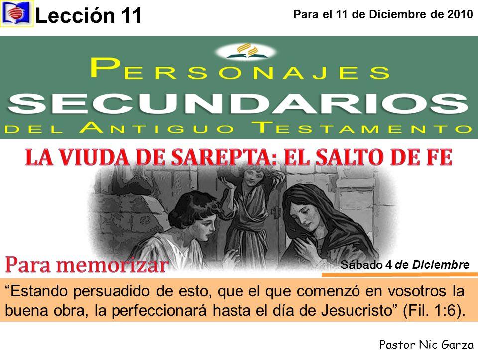 Estando persuadido de esto, que el que comenzó en vosotros la buena obra, la perfeccionará hasta el día de Jesucristo (Fil. 1:6). Lección 11 Para el 1
