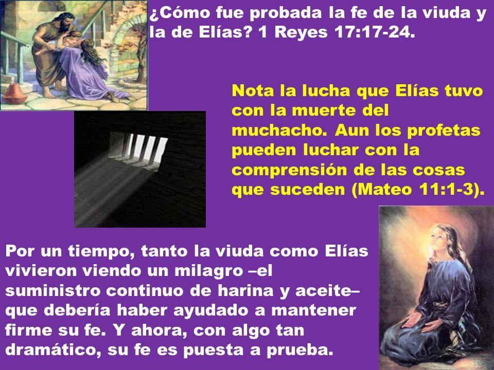 ¿Cómo fue probada la fe de la viuda y la de Elías? 1 Reyes 17:17-24. Por un tiempo, tanto la viuda como Elías vivieron viendo un milagro –el suministr