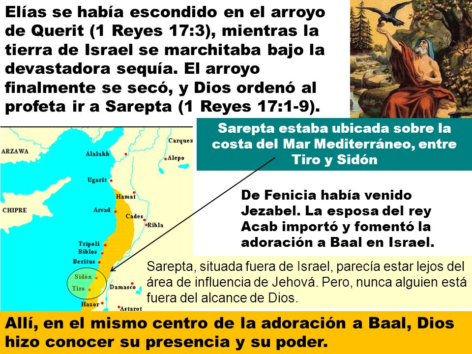 Elías se había escondido en el arroyo de Querit (1 Reyes 17:3), mientras la tierra de Israel se marchitaba bajo la devastadora sequía.