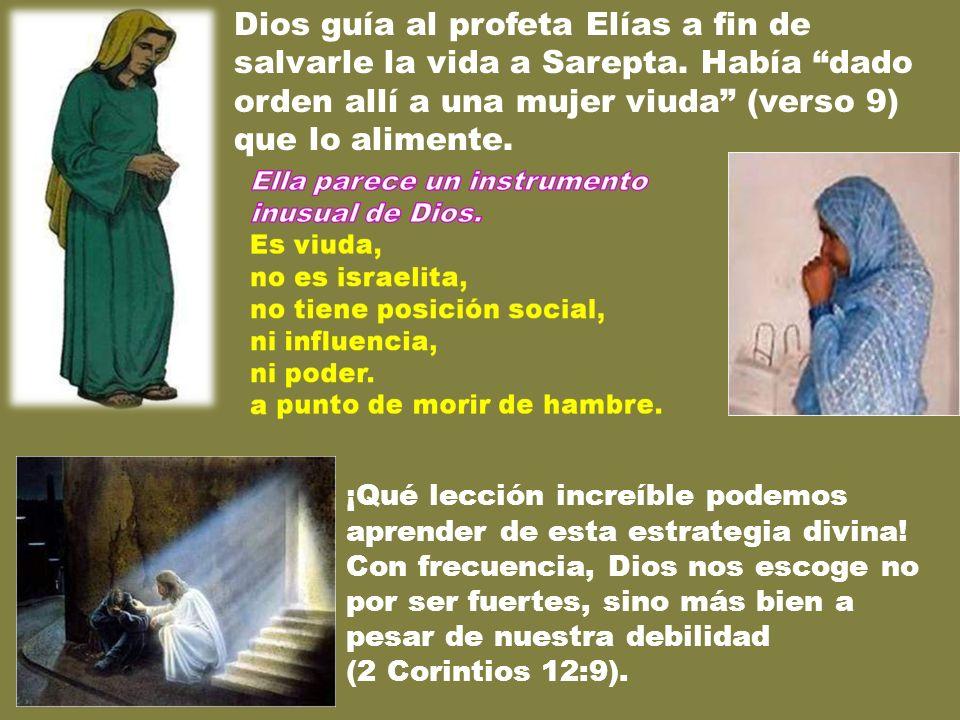 Dios guía al profeta Elías a fin de salvarle la vida a Sarepta. Había dado orden allí a una mujer viuda (verso 9) que lo alimente. ¡Qué lección increí