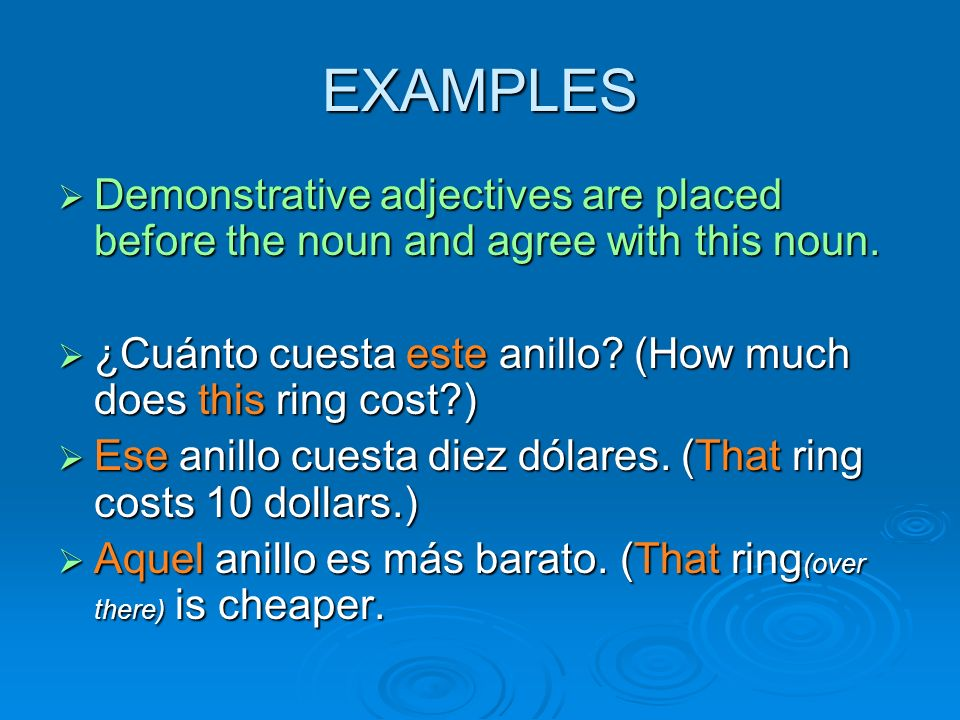 EXAMPLES Demonstrative adjectives are placed before the noun and agree with this noun. Demonstrative adjectives are placed before the noun and agree w