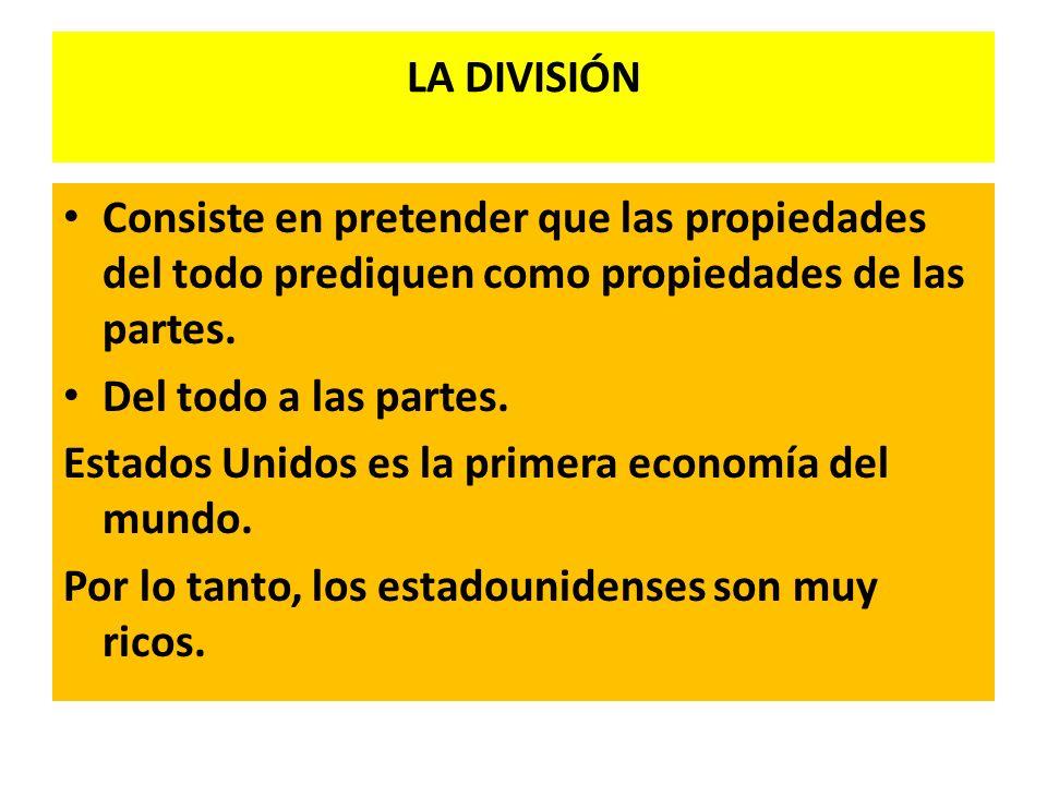 LA DIVISIÓN Consiste en pretender que las propiedades del todo prediquen como propiedades de las partes. Del todo a las partes. Estados Unidos es la p