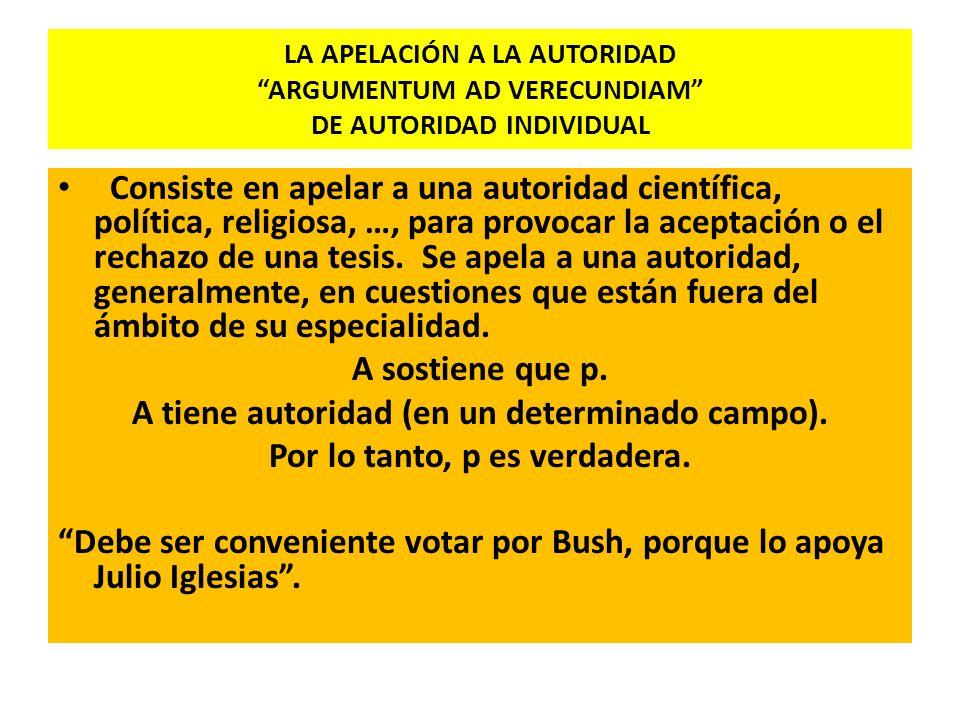 LA APELACIÓN A LA AUTORIDAD ARGUMENTUM AD VERECUNDIAM DE AUTORIDAD INDIVIDUAL Consiste en apelar a una autoridad científica, política, religiosa, …, p