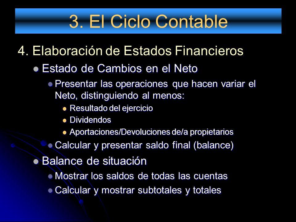 3. El Ciclo Contable 4. Elaboración de Estados Financieros Estado de Cambios en el Neto Estado de Cambios en el Neto Presentar las operaciones que hac