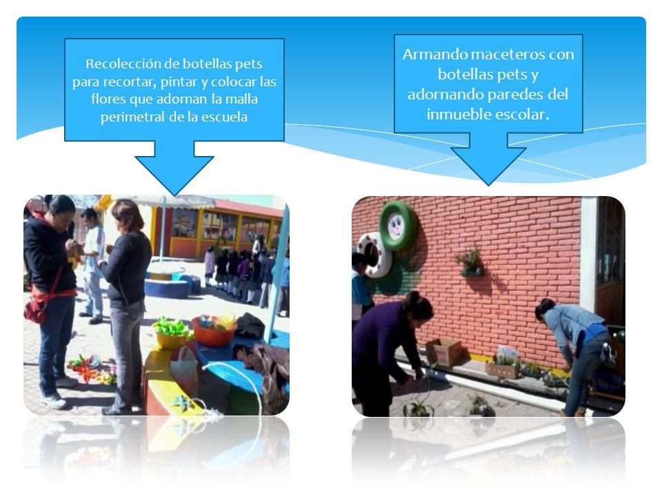 Armando maceteros con botellas pets y adornando paredes del inmueble escolar.