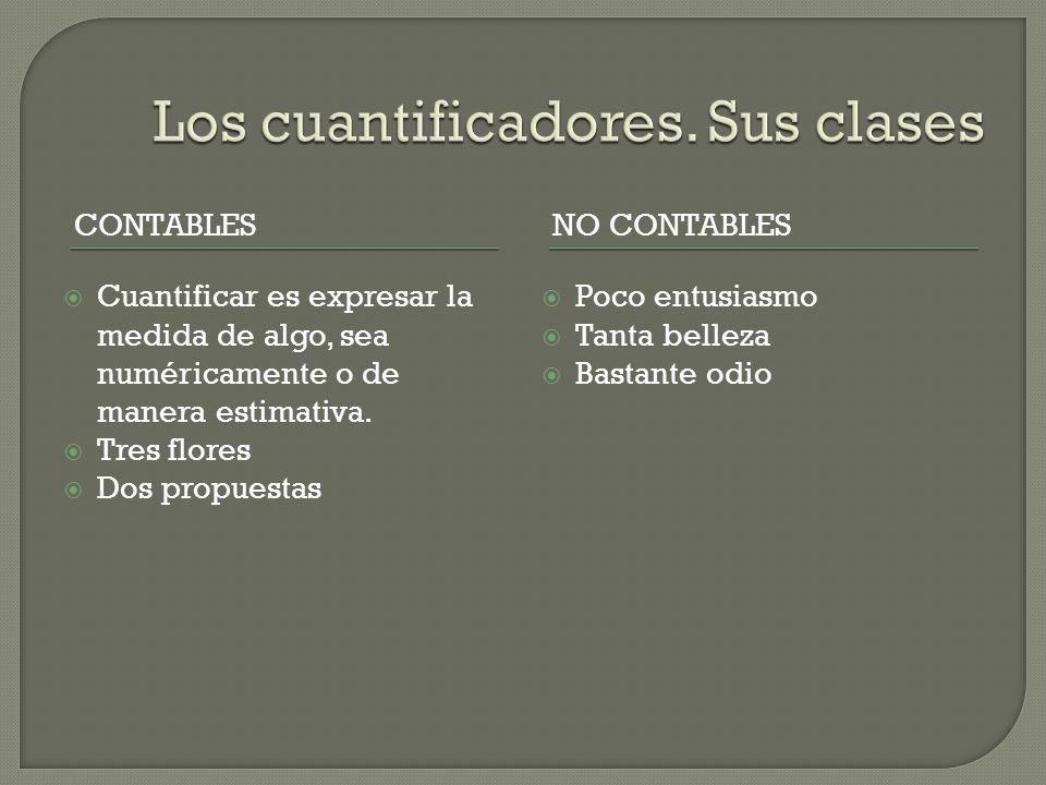 CONTABLESNO CONTABLES Cuantificar es expresar la medida de algo, sea numéricamente o de manera estimativa.