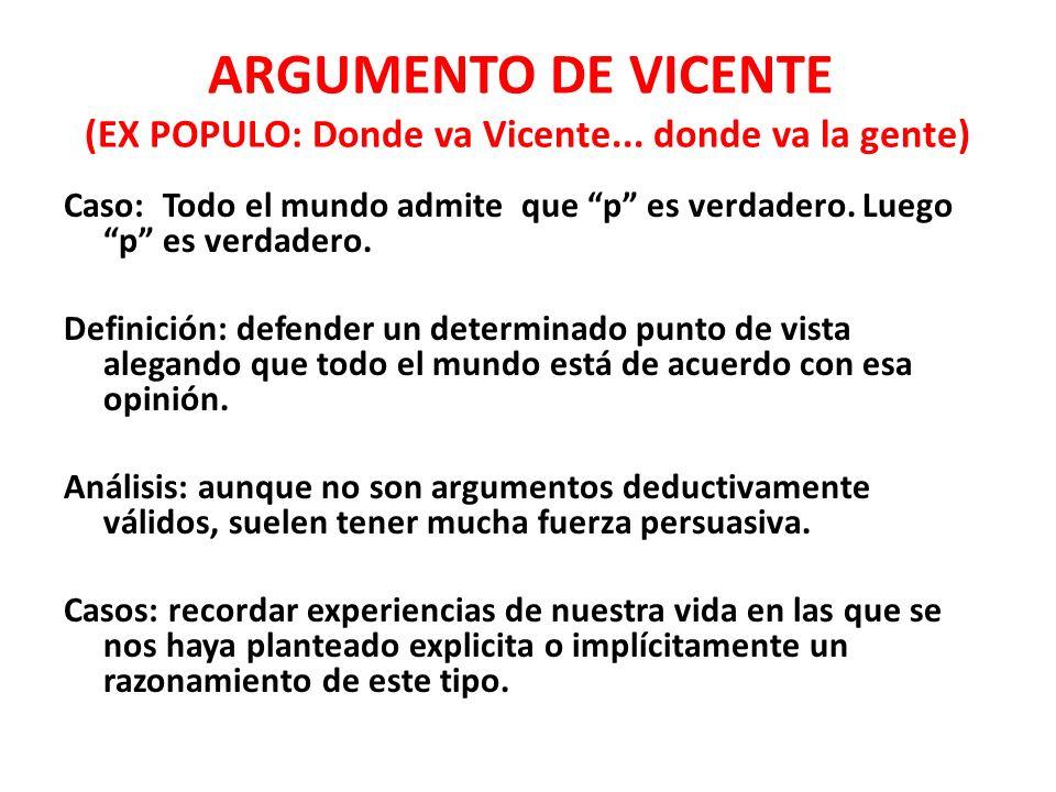ARGUMENTO DE VICENTE (EX POPULO: Donde va Vicente...