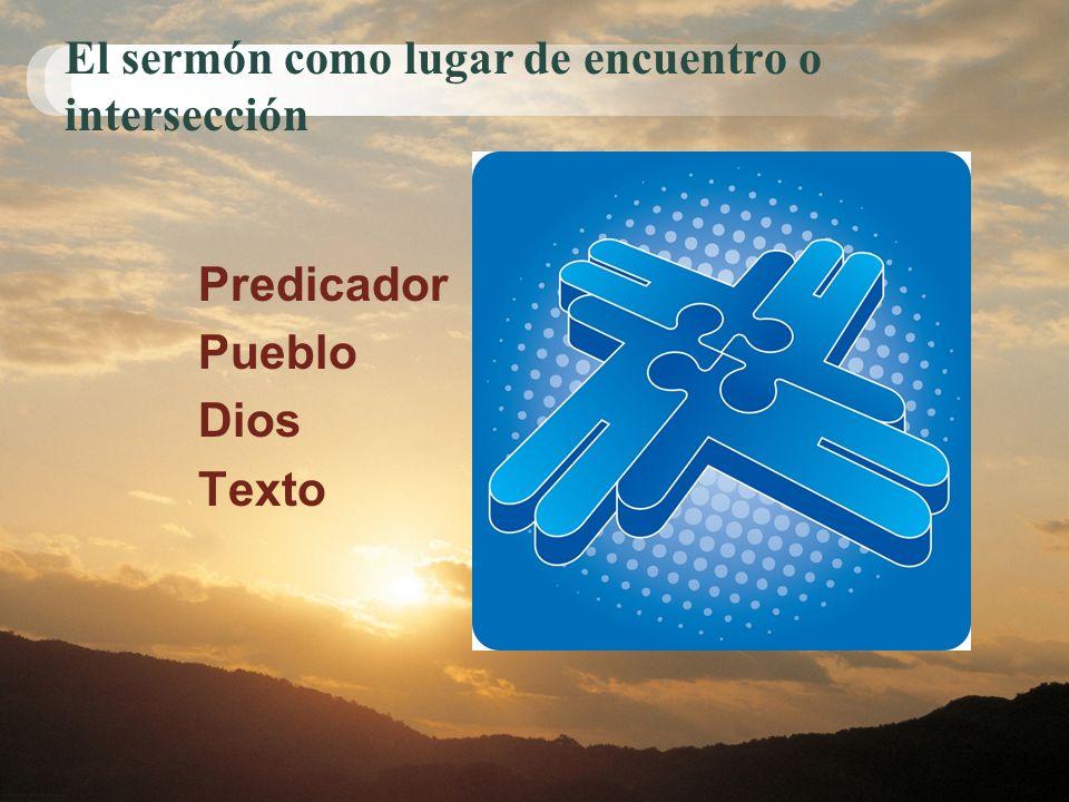 El sermón como lugar de encuentro o intersección Predicador Pueblo Dios Texto