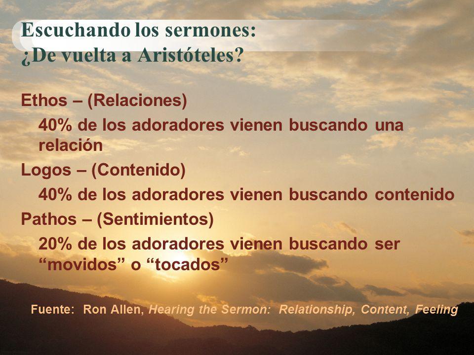 Escuchando los sermones: ¿De vuelta a Aristóteles? Ethos – (Relaciones) 40% de los adoradores vienen buscando una relación Logos – (Contenido) 40% de