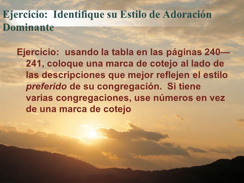 Ejercicio: Identifique su Estilo de Adoración Dominante Ejercicio: usando la tabla en las páginas 240 241, coloque una marca de cotejo al lado de las