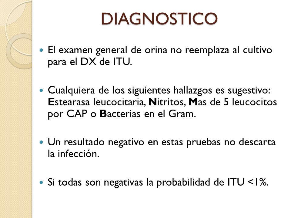 DIAGNOSTICO El examen general de orina no reemplaza al cultivo para el DX de ITU.