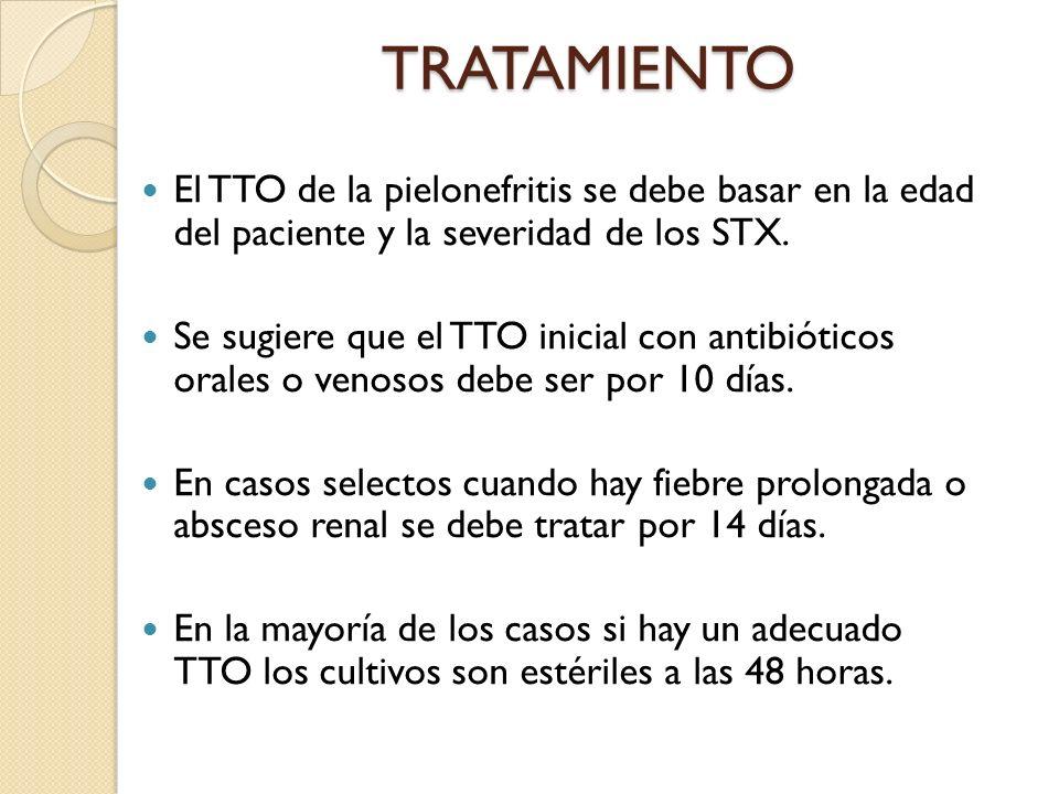 TRATAMIENTO El TTO de la pielonefritis se debe basar en la edad del paciente y la severidad de los STX.