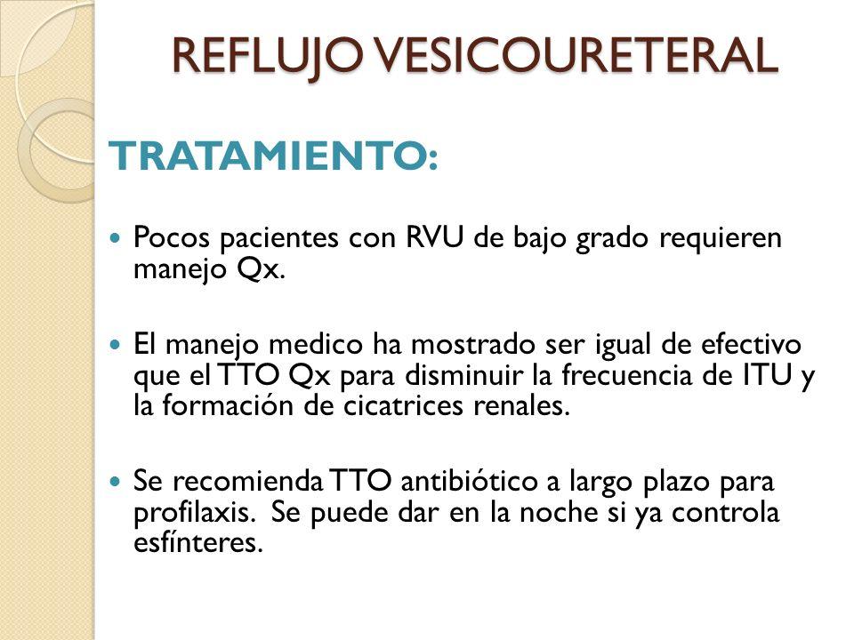REFLUJO VESICOURETERAL TRATAMIENTO: Pocos pacientes con RVU de bajo grado requieren manejo Qx.