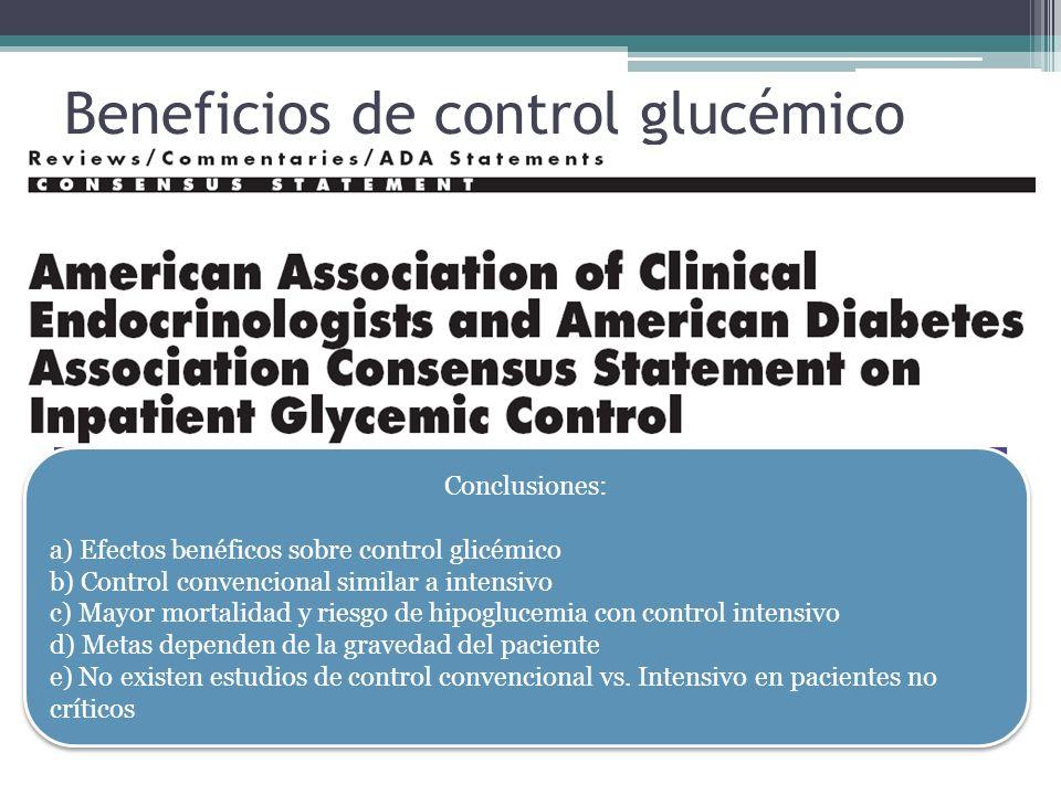 Beneficios de control glucémico Menor riesgo de infecciones de heridas quirúrgicas Disminución de morbilidad y mortalidad Disminución de falla orgánic