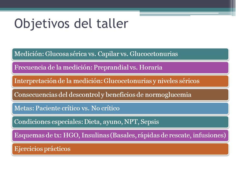 Objetivos del taller Medición: Glucosa sérica vs. Capilar vs. Glucocetonurias Frecuencia de la medición: Preprandial vs. Horaria Interpretación de la