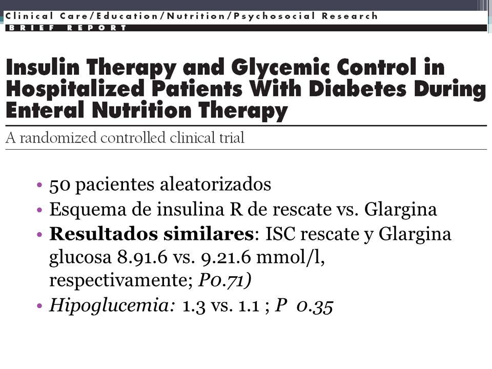 50 pacientes aleatorizados Esquema de insulina R de rescate vs. Glargina Resultados similares: ISC rescate y Glargina glucosa 8.91.6 vs. 9.21.6 mmol/l