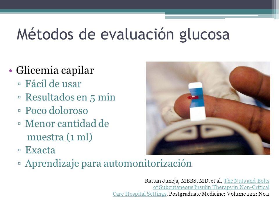 Métodos de evaluación glucosa Glicemia capilar Fácil de usar Resultados en 5 min Poco doloroso Menor cantidad de muestra (1 ml) Exacta Aprendizaje par