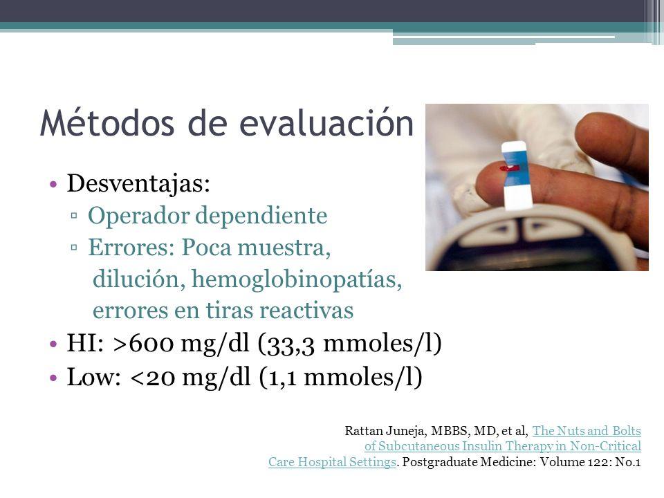 Métodos de evaluación glucosa Desventajas: Operador dependiente Errores: Poca muestra, dilución, hemoglobinopatías, errores en tiras reactivas HI: >60
