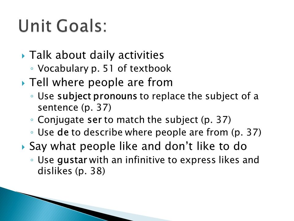 Talk about daily activities Vocabulary p.
